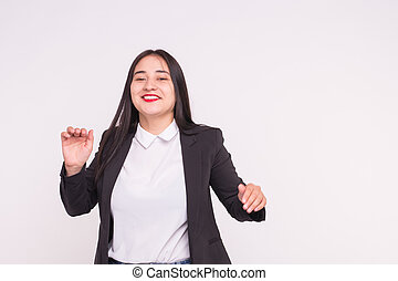 Beautiful young asian woman on white background with copy space
