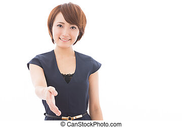 woman who shakes hands
