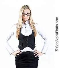 beautiful young attractive intelligent girl in glasses