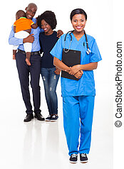 young black nurse with african family