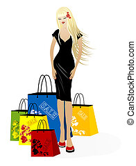 Beautiful young blond girl with shopping