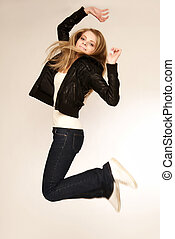 beautiful young blond in a jump