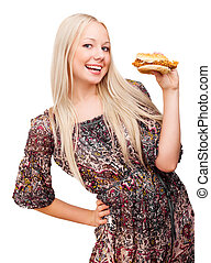 young blond woman with a burger