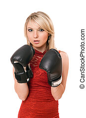 Beautiful young blonde in boxing gloves