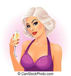 Beautiful young blonde lady holds a glass of champagne