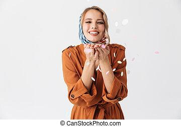 Beautiful young blonde pretty woman wearing silk scarf...