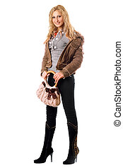 Beautiful young blonde with a handbag. Isolated