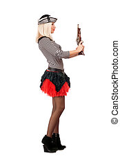 Beautiful young blonde with guns