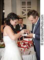 Beautiful young bride feeding wedding cake to groom