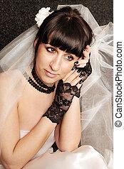 bride in the black gloves