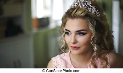 Beautiful Young Bride. Stylish Woman Fiancee with Bridal Hairstyle, Event Makeup and Jewelry