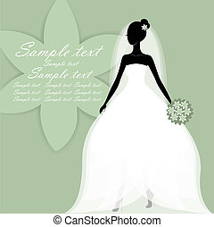 Beautiful young bride vector - Beautiful young bride in a ...