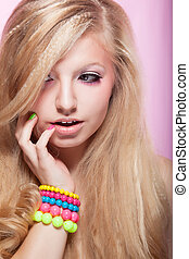 Beautiful Young Bright Beauty Girl with Colorful Bracelet