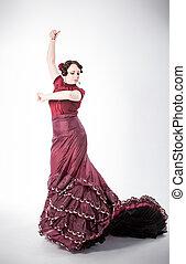 female spanish flamenco dancer - beautiful young brunette...