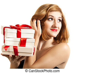 Beautiful young brunette girl with presents