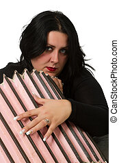 brunette with accordion