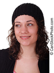 Beautiful Young Brunette with Knit Cap Looking Right