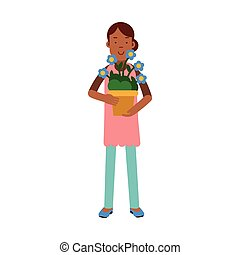 Beautiful young brunette woman caring for her flowers, home cleaning and homework vector Illustration