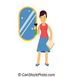Beautiful young brunette woman cleaning mirror using cleaner sprayer, home cleaning and homework vector Illustration