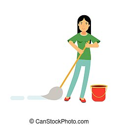 Beautiful young brunette woman housewife cleaning the floor with a mop and a bucket of water, home cleaning and homework vector Illustration