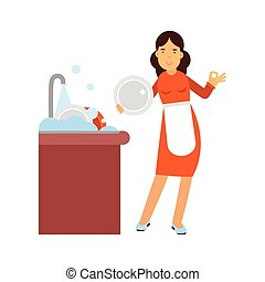 Beautiful young brunette woman housewife washing dishes in the kitchen, home cleaning and homework vector Illustration