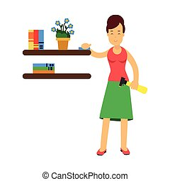Beautiful young brunette woman housewife wiping dust from shelves, home cleaning and homework vector Illustration