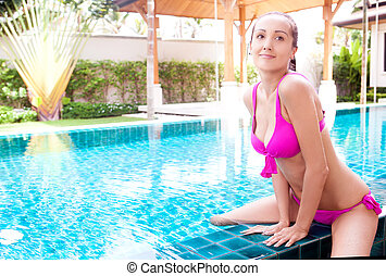 woman in the swimming pool