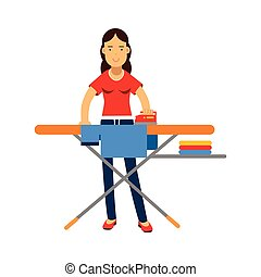 Beautiful young brunette woman ironing clothes on an ironing board, home cleaning and homework vector Illustration