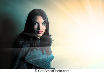 Beautiful young brunette woman portrait