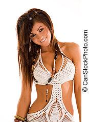 Beautiful young brunette woman