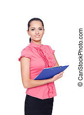 beautiful young business woman holding clipboard isolated on white background