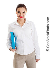 Beautiful young business woman holding file.