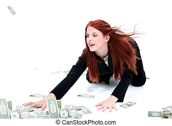 Beautiful Young Business Woman On Floor Grabbing Up Cash