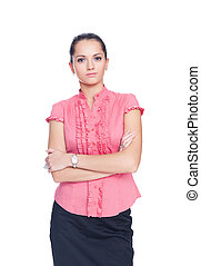 beautiful young business woman standing with hands folded against isolated on white background