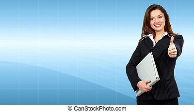Beautiful young Business woman. Success.