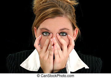 Beautiful Young Business Woman with Hands On Face
