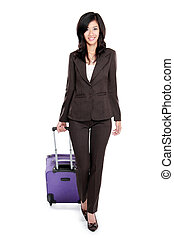 beautiful young business woman with suitcase