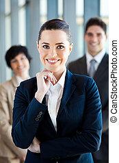 businesswoman and team portrait