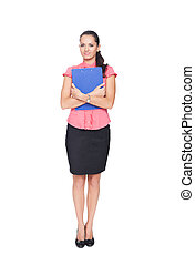 beautiful young businesswoman hugging clipboard isolated on white background
