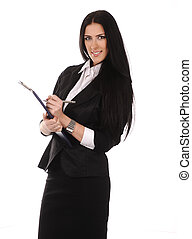 Beautiful young businesswoman standing isolated on white