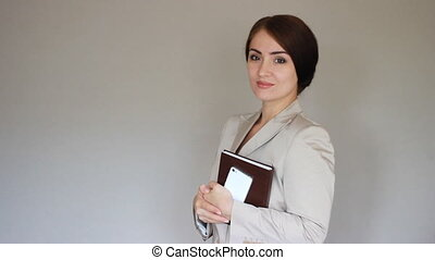 Beautiful young Businesswoman. Woman smilling, agree,...