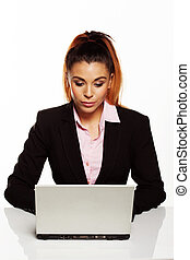 Beautiful young businesswoman working