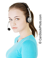 Beautiful young call-center assistant smiling