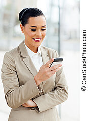 young career woman using cell phone