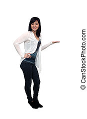 A full-length shot of a lovely young woman, isolated on white, with her hand extended, palm up. Generous copyspace.