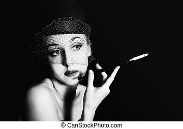 woman in veil with cigarette