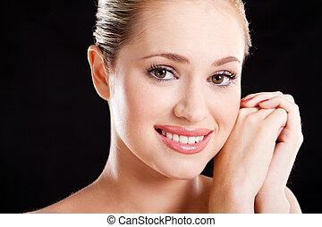 beautiful young caucasian woman