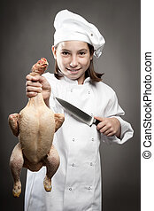 chef  holding a chicken