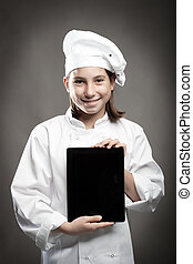 chef holding a tablet