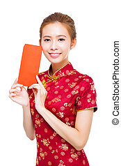 beautiful young chinese woman holding red bag